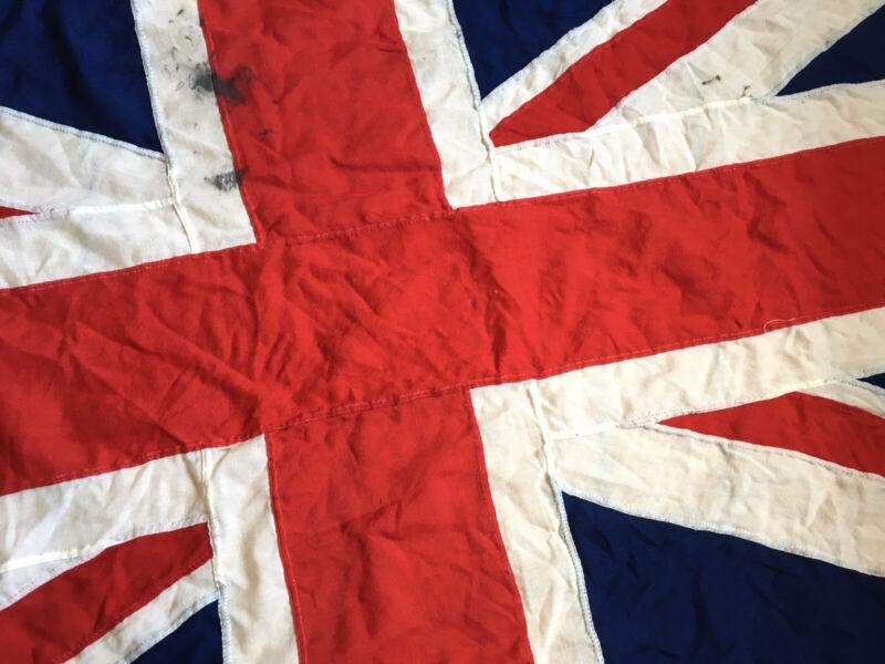Large Vintage Stitched Panel Cotton Union Jack British Flag 175cm Long