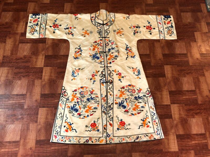 Elegant Antique / Vintage Chinese Silk Embroidered Koi Fish Robe
