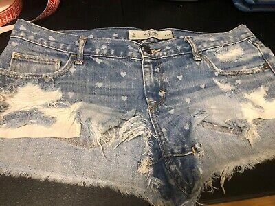Womens Abercrombie & Fitch Shorts Size 8 DISTRESSED W HEARTS