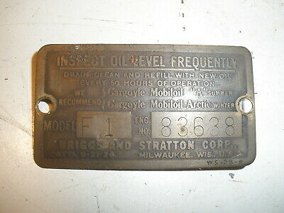 Vintage Briggs Stratton Gas Engine Brass Data Plate For Model Fi