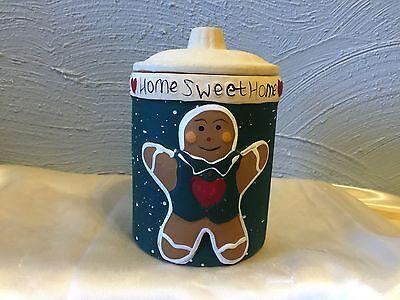 Home sweet home gingerbread  terra cotta Jar Candle with Lid, Unused Candle Terra Cotta Jar