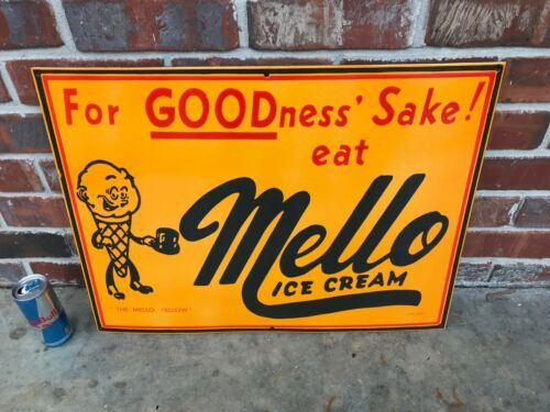 """MELLO ICE CREAM"" VERY HEAVY PORCELAIN ADVERTISING SIGN, (DATED 1957), NEAR MINT"