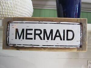 Mermaid custom wooden sign coastal home decor beach sign plaques ebay - Custom signs for home decor concept ...