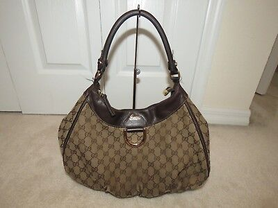 Gucci Gg Monogram Abbey D Ring Shoulder Bag Hobo 189833 Brown Well Used Read
