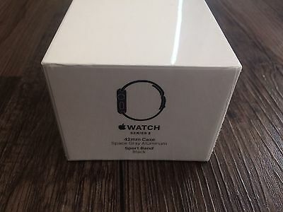 New Apple Watch Series 2 42mm Space Gray Aluminum Black Sport Band MP062LL/A