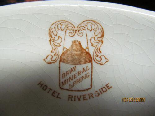 3 VINT HOTEL RIVERSIDE CAMBRIDGE SPRINGS, PA DISHES SAUCER, 2 VEG BOWLS LOGO