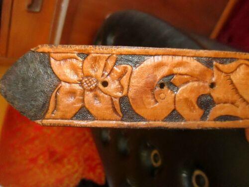 SZ 31 32 SMALL True Vtg 60s HANDMADE Tooled Western COWBOY Belt