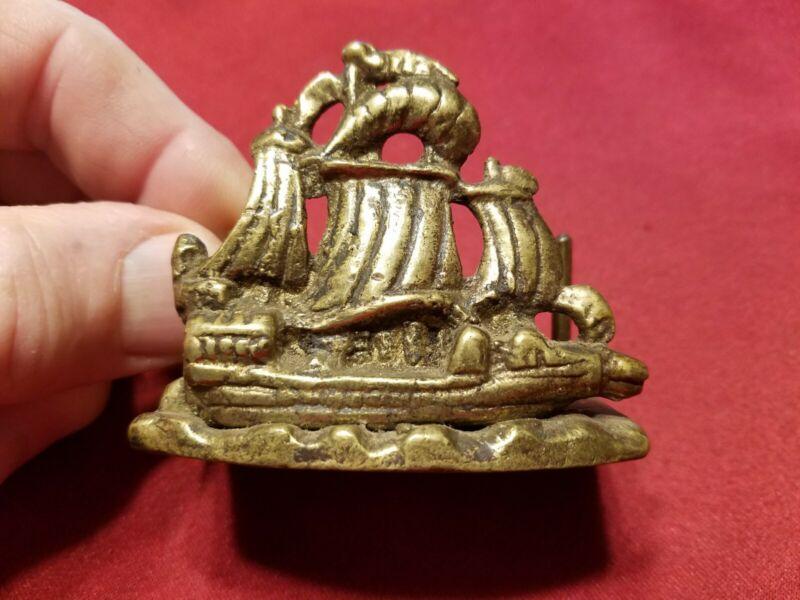 Vtg Brass Nautical Maritime Ship Brass Business Calling Card Holder - BK