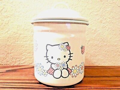 Hello Kitty Cookie Jar Tin w/ Flowers Lady Bugs Candy Coffee Snacks Small Pot 5