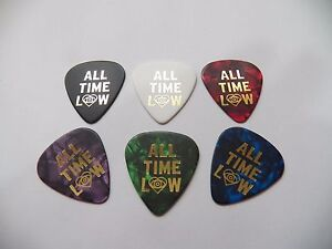ALL TIME LOW SET OF 6 Gold print Guitar plectrum pick medium thick 0.71mm