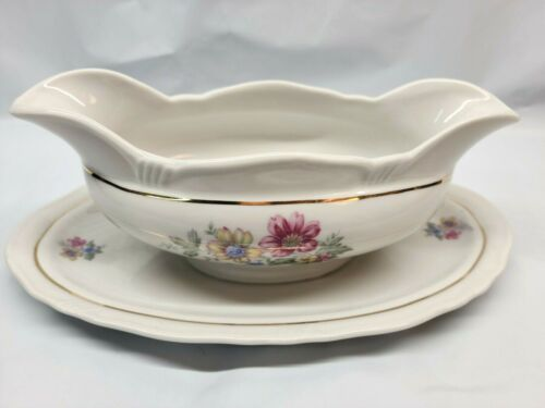 Harmony House Minuet By Bareuther NUMBERED Gravy Boat With Attached Plate. #1024