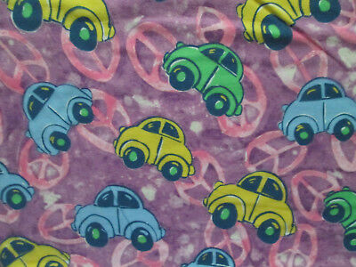 VW PEACE SYMBOL VOLKSWAGON BUG PURPLE COTTON FLANNEL FABRIC FQ