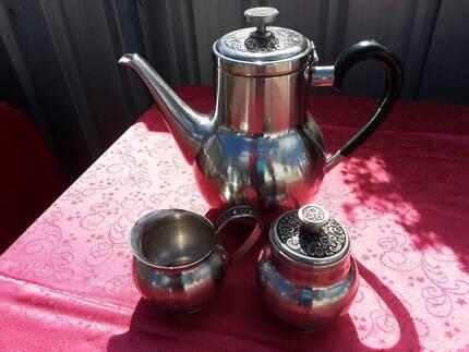 Pewter Teapot with matching Sugar Bowl and Milk Jug