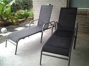 black outdoor sun lounges Cardiff Lake Macquarie Area Preview