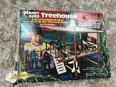 Vintage 1967 Mego Planet of the Apes Treehouse (Not Complete) With Box LOOK