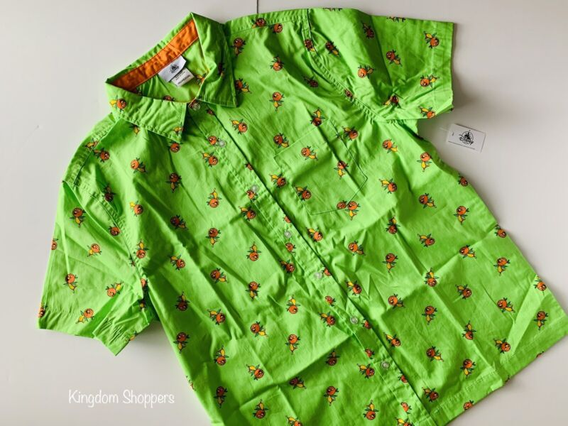 New Disney Parks 2020 Orange Bird Green Button Down Camp Shirt Adult M