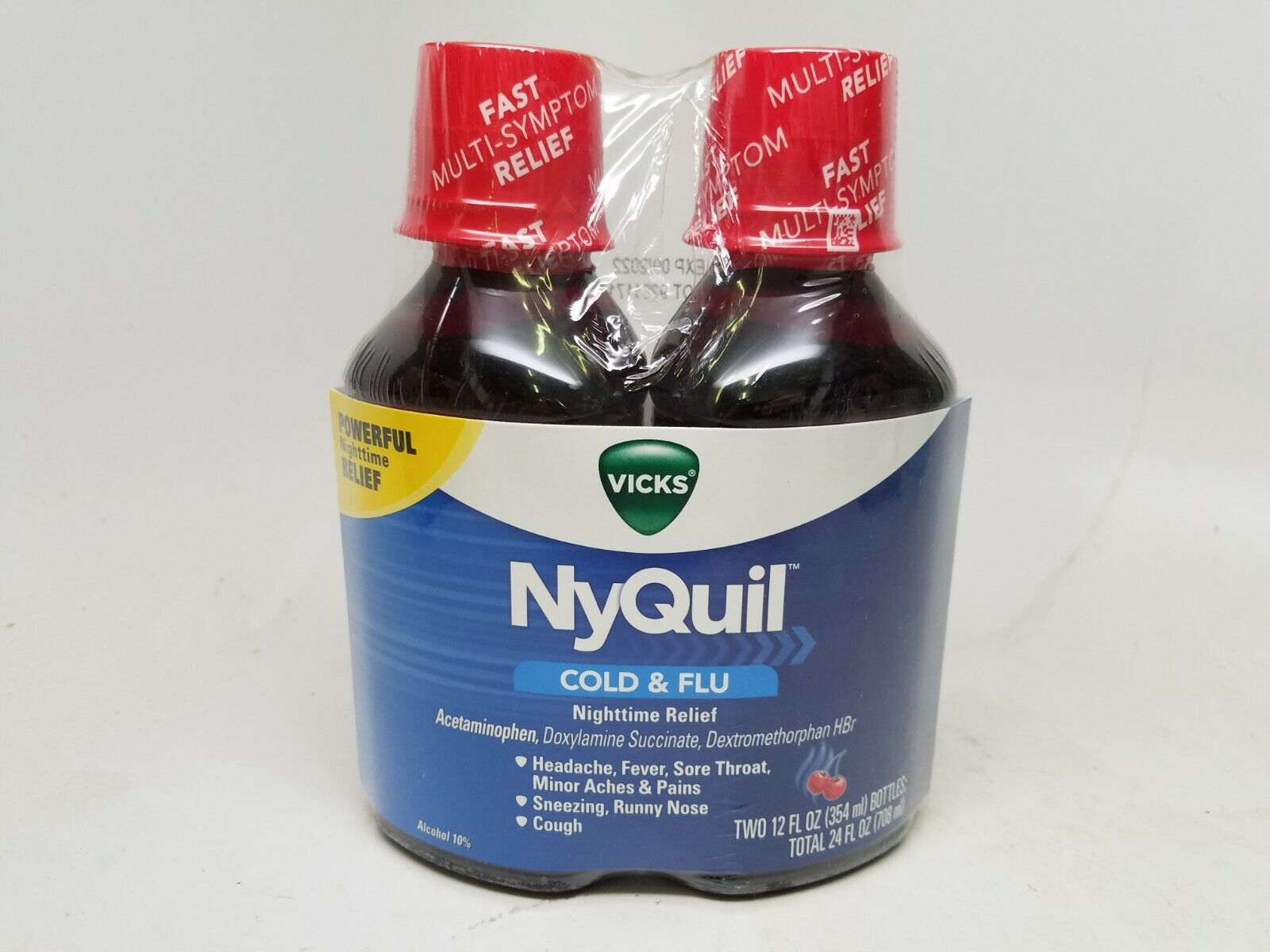 Vicks NyQuil Cough Cold and Flu Nighttime Relief, Cherry Fla