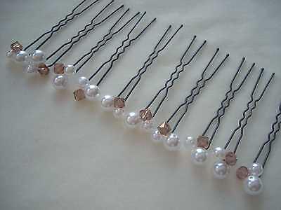Swarovski Haar (NEU! 10 Haarnadeln mit Swarovski-Perlen ivory nude capp. Party Gala Braut Dirndl)