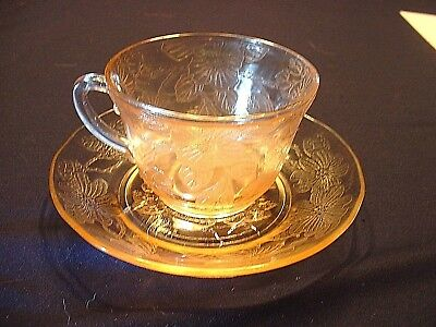 Vintage Pink Depression Glass Macbeth Evans Dogwood Creamer & Sugar Bowl