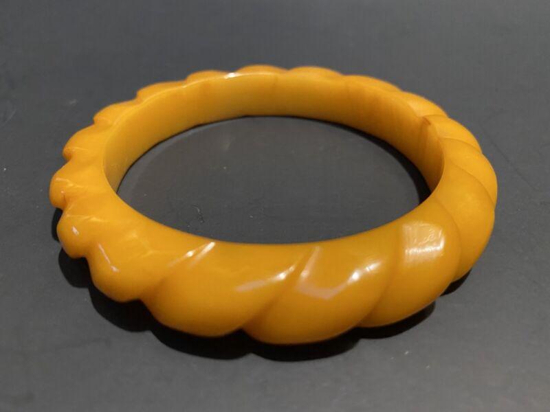 Antique Vintage Butterscotch Carved Bangle Bracelet