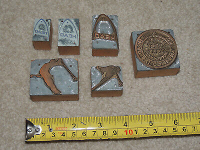 Lot Of Vintage Printing Blocks Head Skis Sporting Equipment Logo Corporate Seal