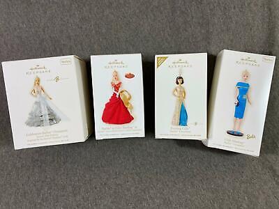 4 Lot 2008 Hallmark Club Meeting Celebration Barbie Keepsake Ornaments Christmas