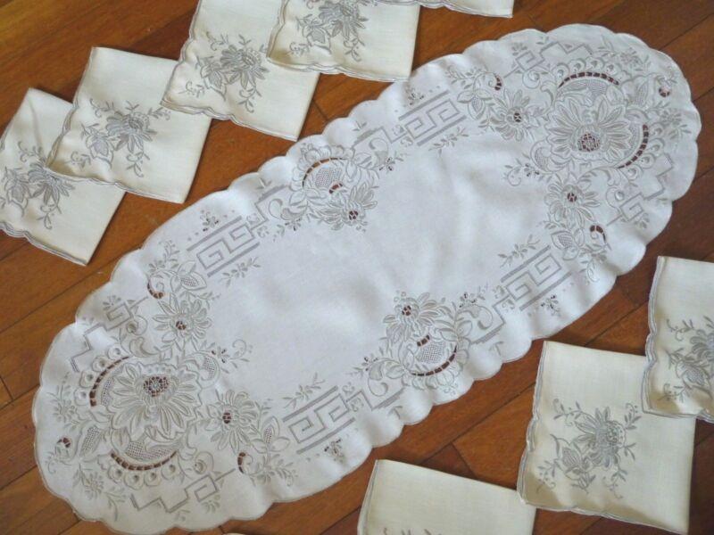Vintage Set of Madeira Embroidery Linen Table Runner & 9 Napkins
