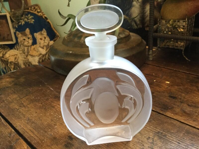 Vintage Art Deco Frosted Clear Glass Crystal Perfume Bottle