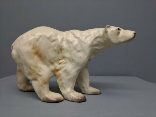 Old Monrovia Hagen Renaker DW Polar Bear w/ Original Sticker & Pink Belly