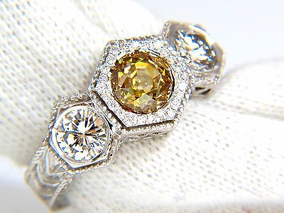 GIA 2.30CT FANCY YELLOW BROWN DIAMONDS RING 18KT EDWARDIAN CROWN DECO+ 8