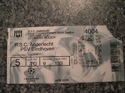 Ticket: Anderlecht - PSV Eindhoven UEFA CL (19-9-00)