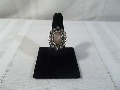 Dot Mother Of Pearl Ring - Darling Sterling Silver Mother of Pearl Vintage Filigree and Dots Ring Size 7