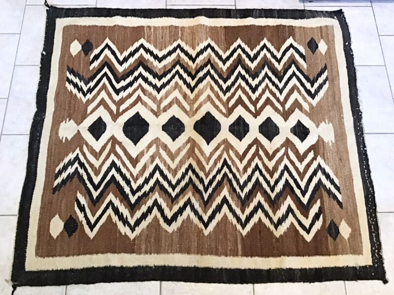 """VINTAGE HAND WOVEN NAVAJO RUG NATURAL DYES 54"""" by 48"""""""