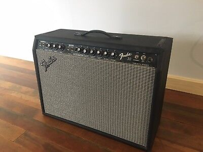 Vintage Fender 30 2x10 guitar tube amp amplifier Jensens w/footswitch pre Rivera ()