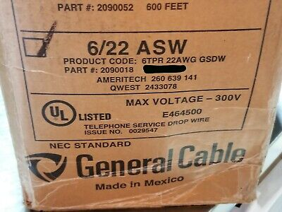 General Cable 2090018 226p Nm Support Telephone Service Drop Wire Asw Blk50ft