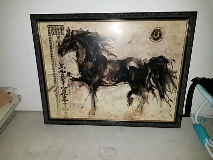 Large black horse painting/picture gold foil