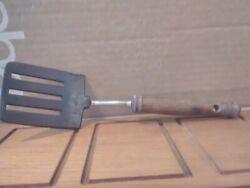 Vintage Rare EKCO USA 10 Wood Handle Stainless & Nylon Slotted Flipper Spatula!