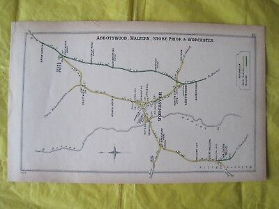 1905 RAILWAY CLEARING HOUSE Junction Diagram No.81 WORCESTER AREA.