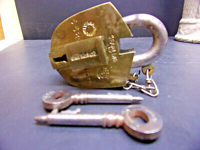 Antique Sparling Brass Padlock with Two Keys