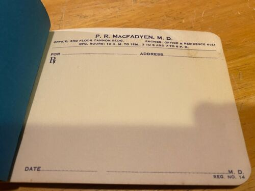 Vintage Prescription Pad – Collector's Item – P.R. MacFayden MD – Cannon Buildin