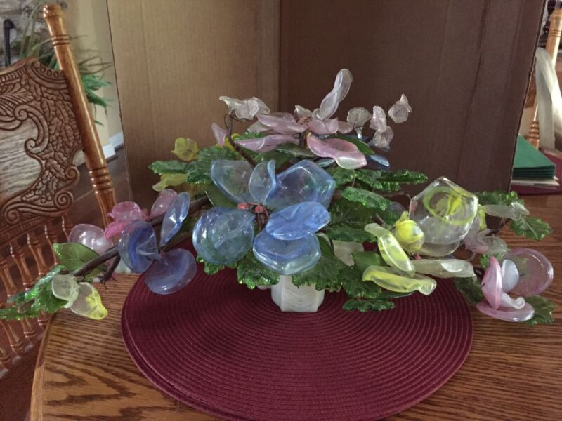 Gorgeous Antiq XL Murano? Art glass flowers& Leaves Centerpiece, Horse head base