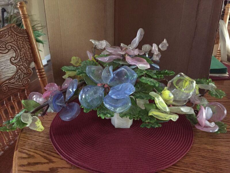Gorgeous Antique XLarge Art glass flowers& Leaves Centerpiece, Horse head base