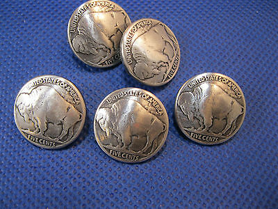 "(5 pieces) Buffalo Nickel Antique Silver Concho 3/4"" Enmon NEW"