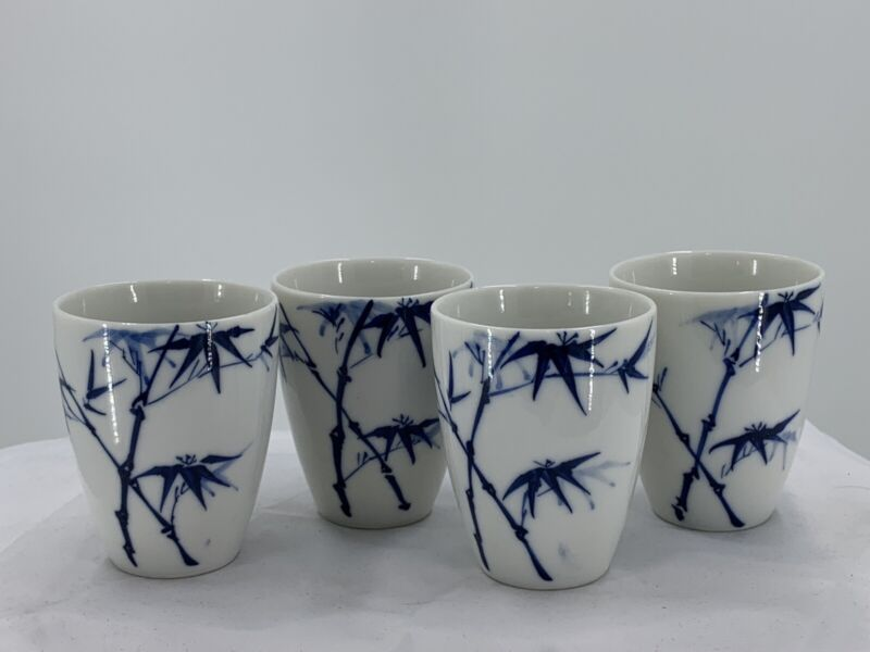 Set of 4 Old Japanese Blue and White Hand Painted Teacups