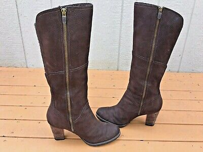TIMBERLAND EARTHKEEPERS STRATHAM HEIGHTS TALL BROWN WATERPROOF LEATHER BOOTS 9.5