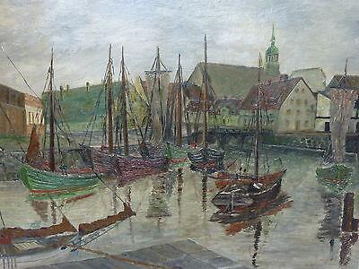 Bremerhaven Fischerboote und Segelschiffe Gemälde Bremen Neue Sachlichkeit