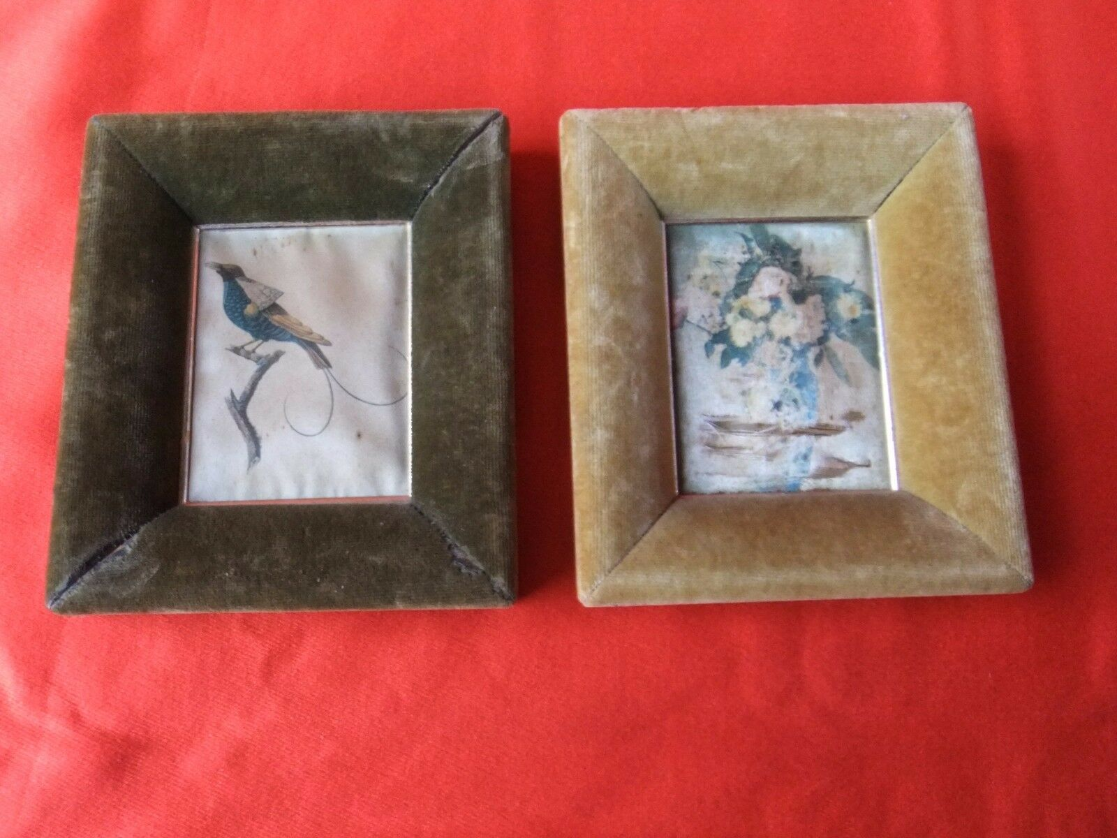 marco miniatura antiguo madera terciopelo pintura en la seda cuadro ...