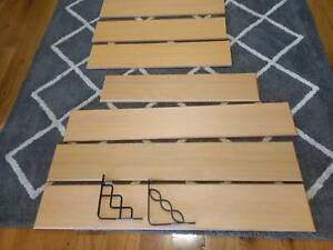 Solid wood bevelled wall shelves with brackets