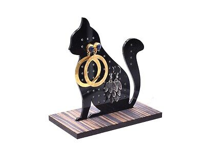 Cute Cat Silhouette Cut Out Earring Jewellery Holder Rack Stand - Ideal Gift