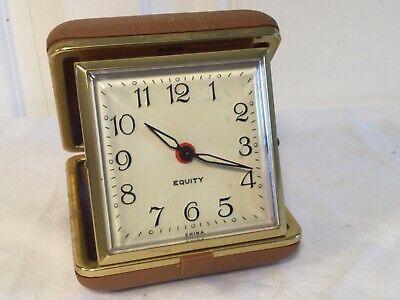 Vintage Equity Travel Wind Up Folding Alarm Clock Made in China Tan Case